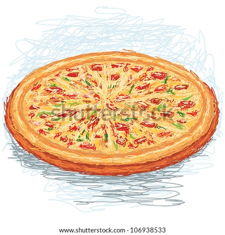 closeup illustration of a whole freshly baked pizza. - stock vector