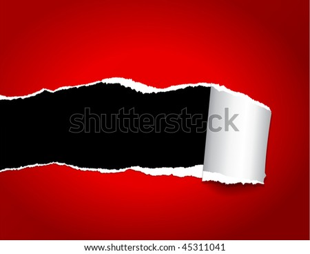 Closeup of a dark hole on red paper. File EPS 10 with transparency and overlay,  for better editing - stock vector