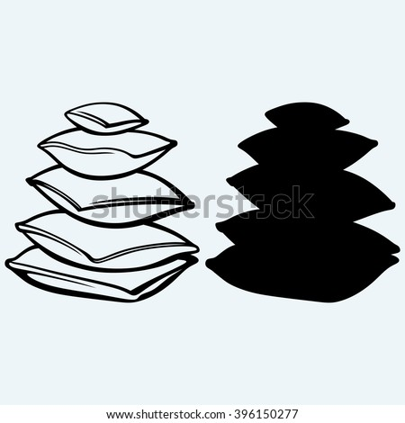 Closeup pillow. Isolated on blue background. Vector silhouettes - stock vector