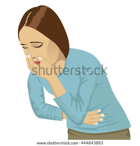 closeup portrait of sick young woman about to throw up, vomit - stock vector