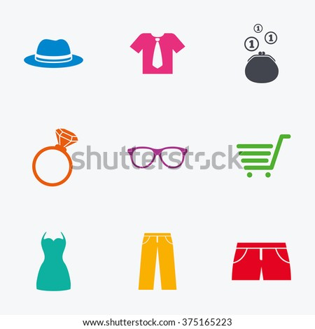 Clothes, accessories icons. Shirt, glasses and hat signs. Wallet with cash coins symbols. Flat colored graphic icons. - stock vector