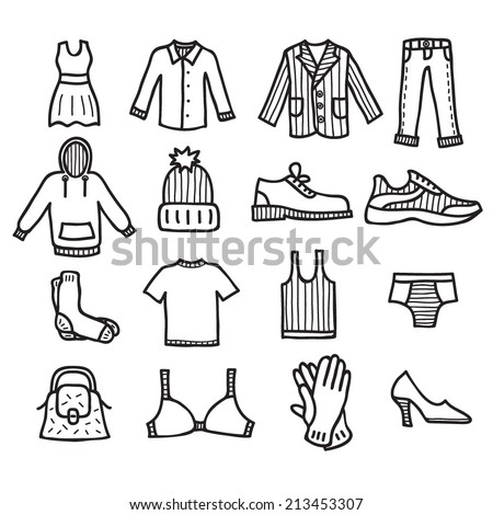 Clothes drawn vector doodle icons set isolated on white background - stock vector