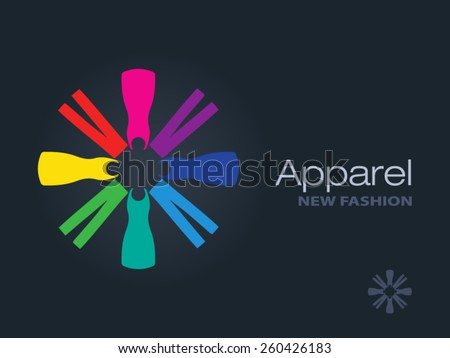 Clothes forming a colorful circle icon. Business sign template for Fashion industry, apparel labeling, clothes boutique. Vector graphics representing concept of diversity, freedom, beautiful clothes. - stock vector