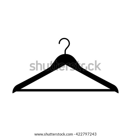 Clothes hanger for store, shop, wardrobe. Simple and minimalistic icon. Clothes hanger symbol. Flat design style sign. Vector illustration.  - stock vector