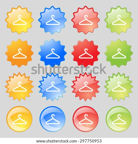 clothes hanger icon sign. Big set of 16 colorful modern buttons for your design. Vector illustration - stock vector