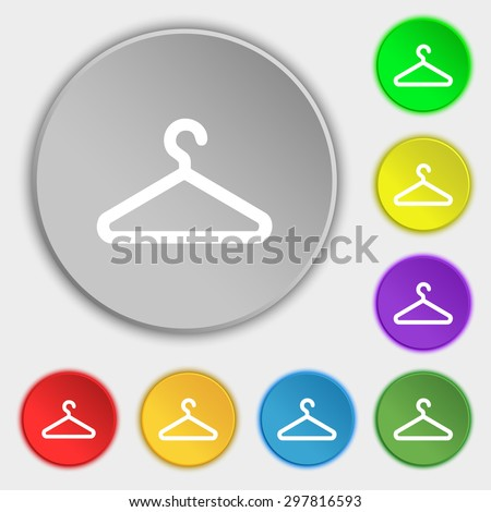 clothes hanger icon sign. Symbol on five flat buttons. Vector illustration - stock vector
