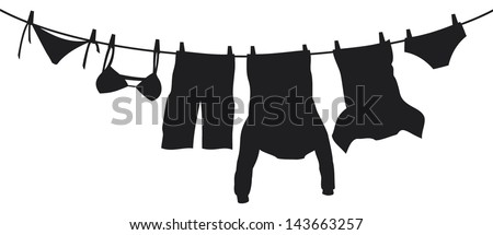 clothes hanging on a clothesline (hanging on thread, clothes drying, t-shirt, boxer short, men's sweatshirt with pocket, pants, panties, bra, laundry hanging to dry) - stock vector