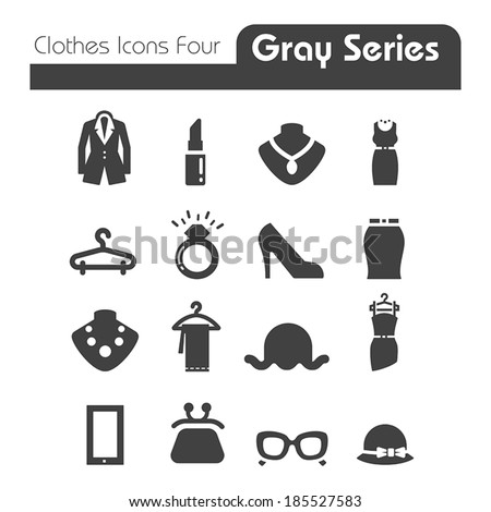 Clothes Icons Gray Series Four  - stock vector