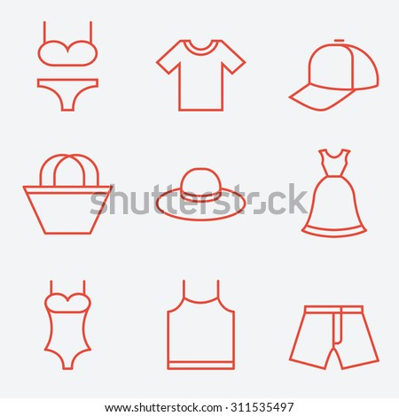 Clothes icons, thin line style, flat design - stock vector