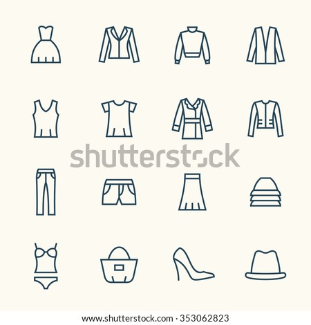 Clothes line icon set - stock vector