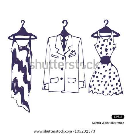 Clothes on hangers. Hand drawn sketch illustration isolated on white background - stock vector