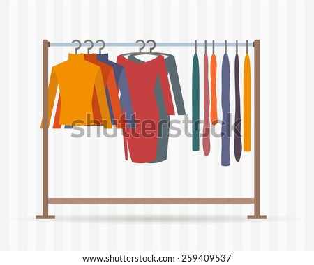 Clothes racks with dresses on hangers. Flat style vector illustration. - stock vector