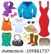 Clothes theme collection 1 - vector illustration. - stock vector