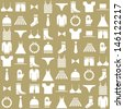clothing icons on beige background - stock vector