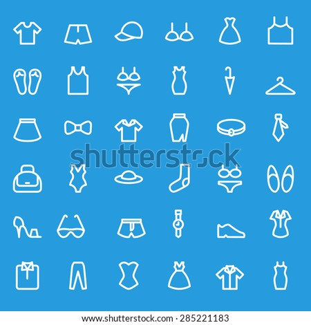 Clothing icons, simple and thin line design - stock vector