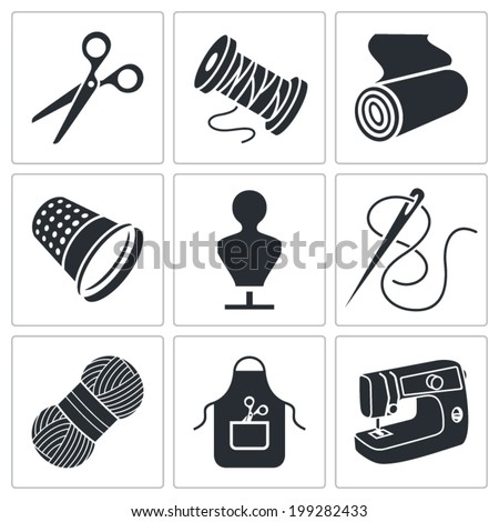Clothing manufacture Icons set - stock vector