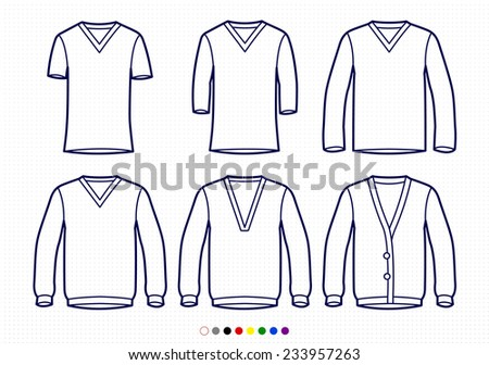 Clothing Pictograms, One Color Outline, V Neck Collection T Shirts, Longsleeve, Sweaters, Buttoned - stock vector