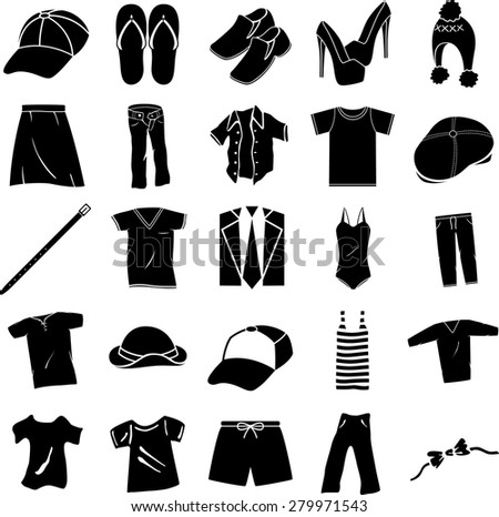 clothing shoes and accessories symbols set - stock vector