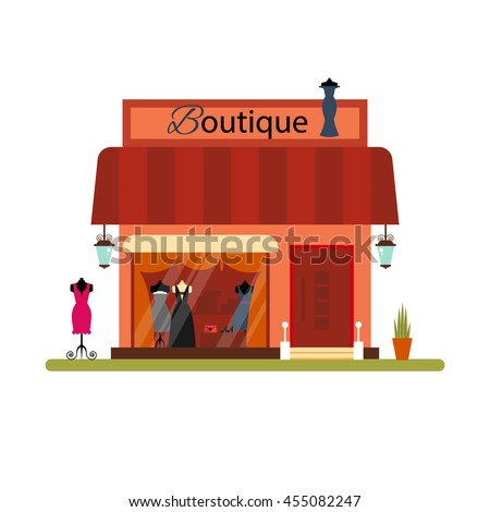 Clothing shop in flat style - vector illustration stock. Infographic elements. Market icon with showcases isolated on white background. Store on the street. Cloth boutique. - stock vector