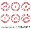 Clothing size stamps - stock vector