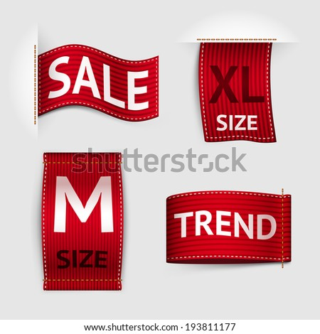 Clothing size trend sale red label ribbon set isolated vector illustration - stock vector