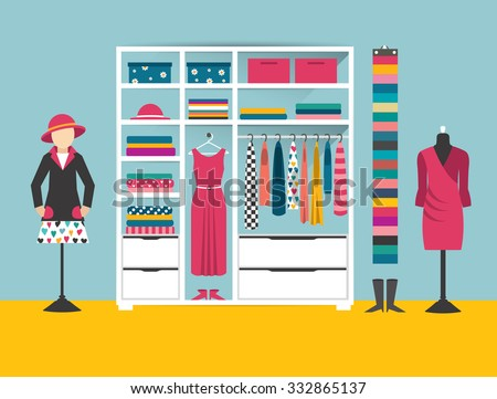 Clothing store. Boutique indoor. Flat design vector illustration. Flat design vector illustration. - stock vector