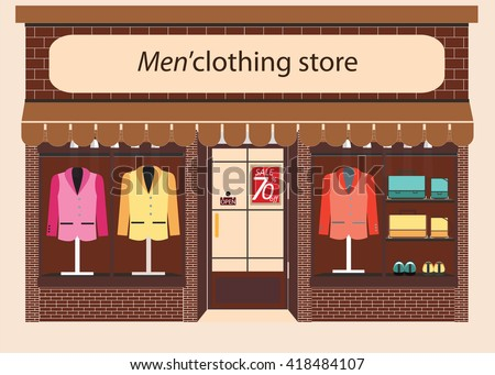 Clothing store, Boutique indoor of men's cloths fashion, tailor shop, exterior building, vector illustration. - stock vector