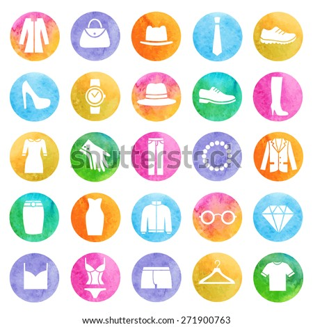 Clothing store watercolor icons. Vector - stock vector