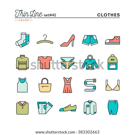 Clothing, thin line color icons set, vector illustration - stock vector