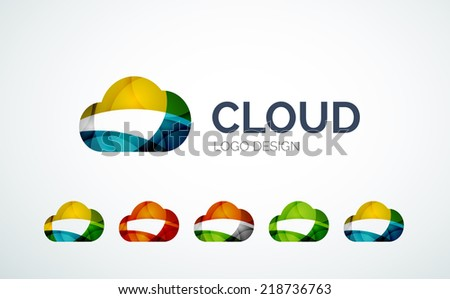 Cloud abstract logo design made of color pieces - various geometric shapes - stock vector