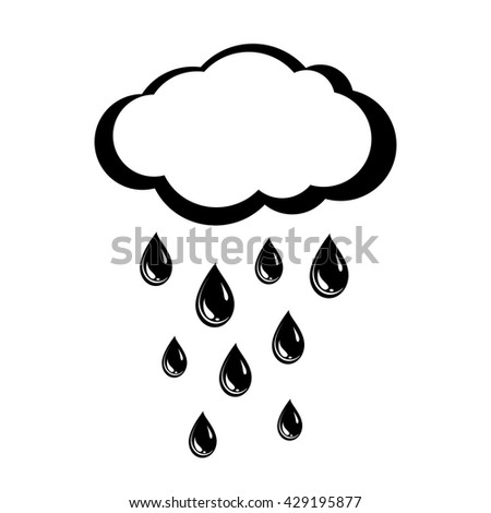Cloud and rain drops. Weather icon of precipitation. Shower or rain cloud with falling drops. Vector Illustration - stock vector