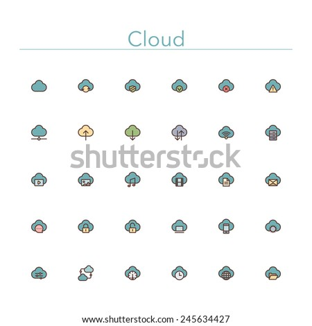 Cloud and Server colored line icons set. Vector illustration. - stock vector