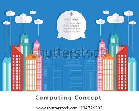 Cloud city concept design. - stock vector