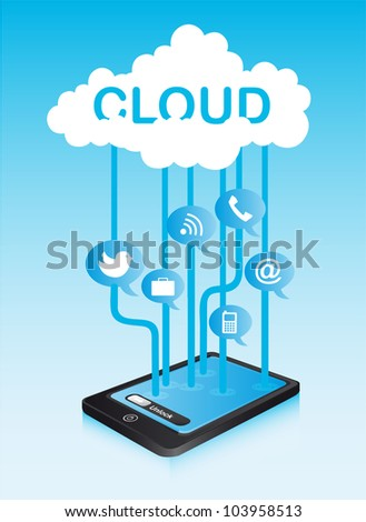 cloud communication with icons and phone. vector illustration - stock vector