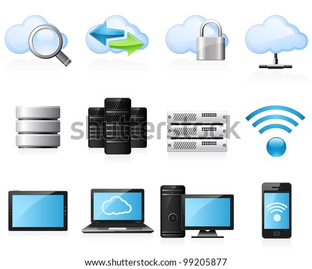 Cloud computing and computer network icon set - stock vector