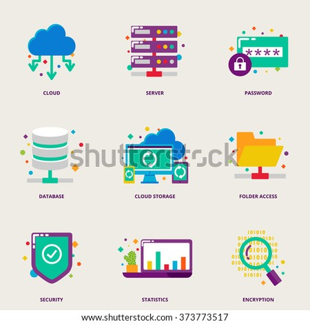 Cloud computing and network colorful vector icons set: server, password, database, cloud storage, folder access, security, statistics, encryption - stock vector