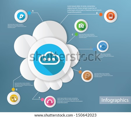 Cloud computing and technology,Infographic design,vector - stock vector