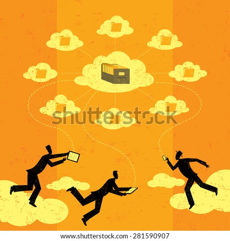Cloud computing Businessmen connecting to cloud storage via their mobile devices. The men and storage clouds are on a separate labeled layer from the background. - stock vector