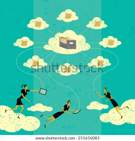 Cloud computing Businesswomen connecting to cloud storage via their mobile devices. The women and storage clouds are on a separate labeled layer from the background. - stock vector