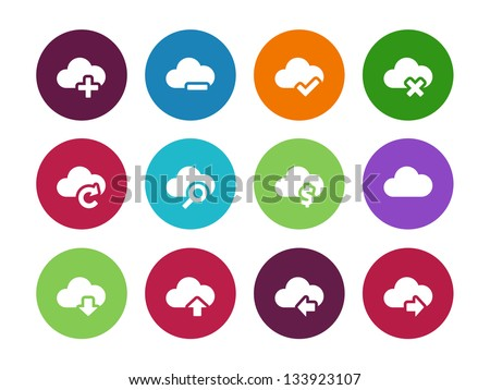 Cloud Computing circle icons on white background. Vector illustration. - stock vector