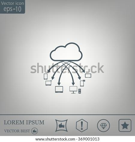 Cloud Computing. Cloud data storage - stock vector