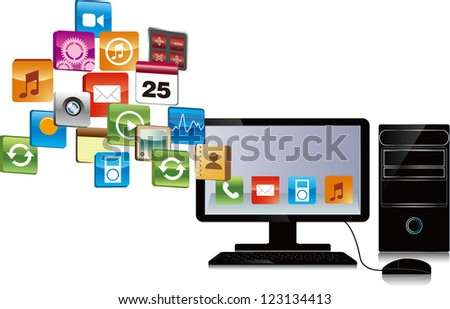 cloud computing, computer has many objects . email download concept , internet research, etc - stock vector
