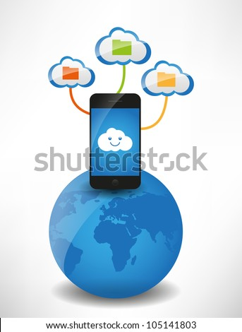 Cloud computing concept. Clouds with files, the mobile phone is on the globe - stock vector