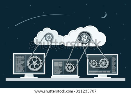 Cloud computing concept. Data storage network technology. PC and laptop connected to the clouds with gear transmission. Flat style illustration. - stock vector