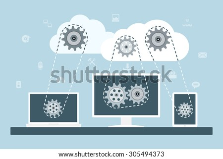Cloud computing concept. Data storage network technology. PC, laptop and tablet connected to the clouds with gear transmission. Flat style illustration. - stock vector