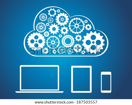 Cloud computing concept design - devices connected to cloud - stock vector