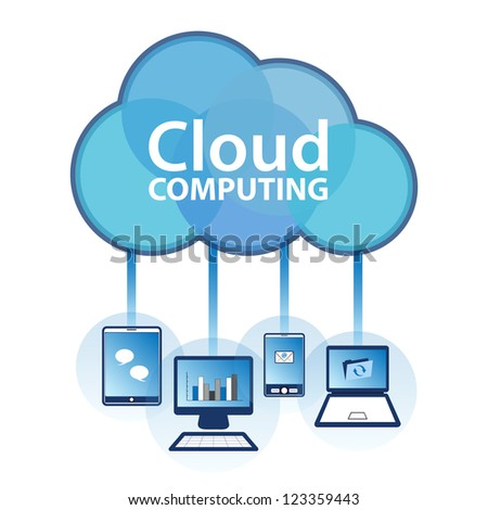 "Cloud computing concept design. Devices connected to the ""cloud"". EPS10. - stock vector"