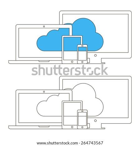 Cloud computing concept design. Vector illustration. - stock vector