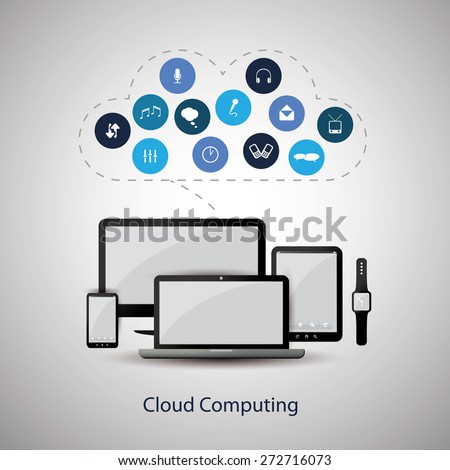 Cloud Computing Concept Design with Black and Blue Colors - stock vector