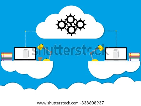 Cloud computing concept design working anywhere anytime a modern business information technology infrastructure. Vector illustration flat design. - stock vector